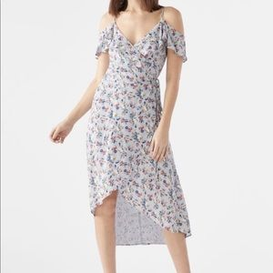 JustFab Cold Should Wrap Dress Blue Multi